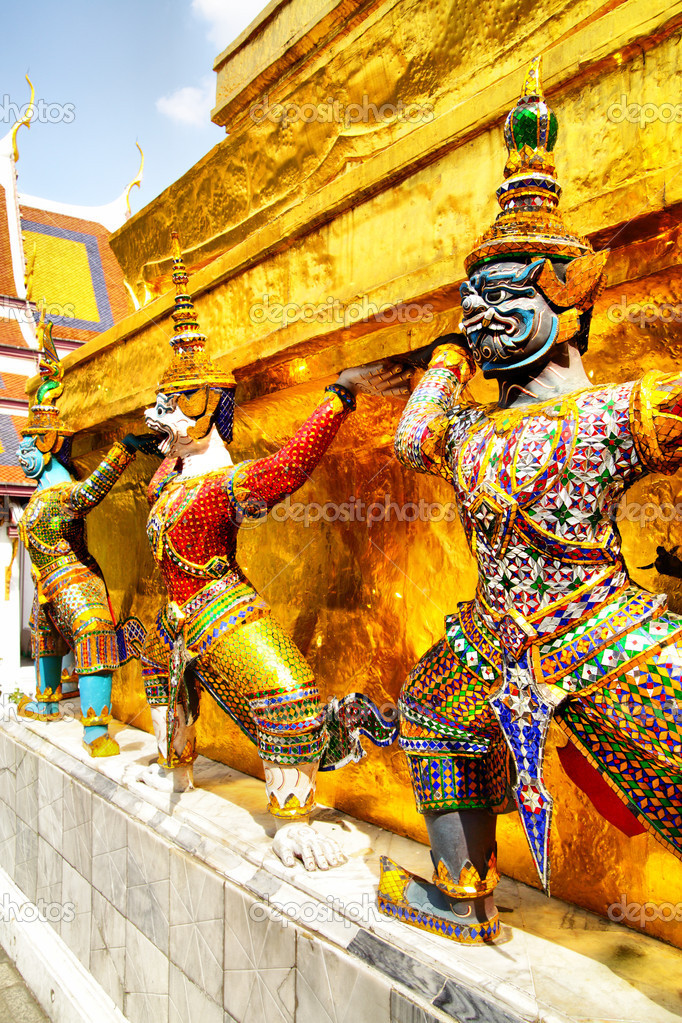 Demons statues at the temple Wat Phra Kaeo. Bangkok. Thailand   Stock Photo #4570726