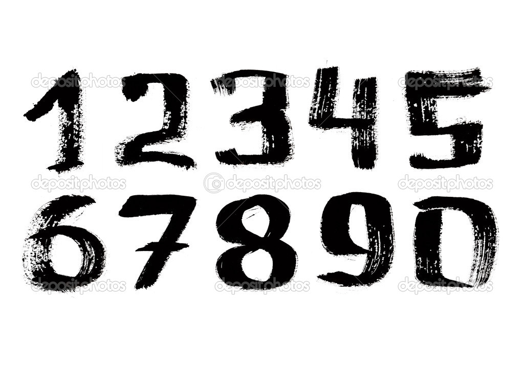 Hand written black ink digits over the white background — Stock Photo #4579733