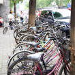 Bicycles at parking lot — Stock Photo