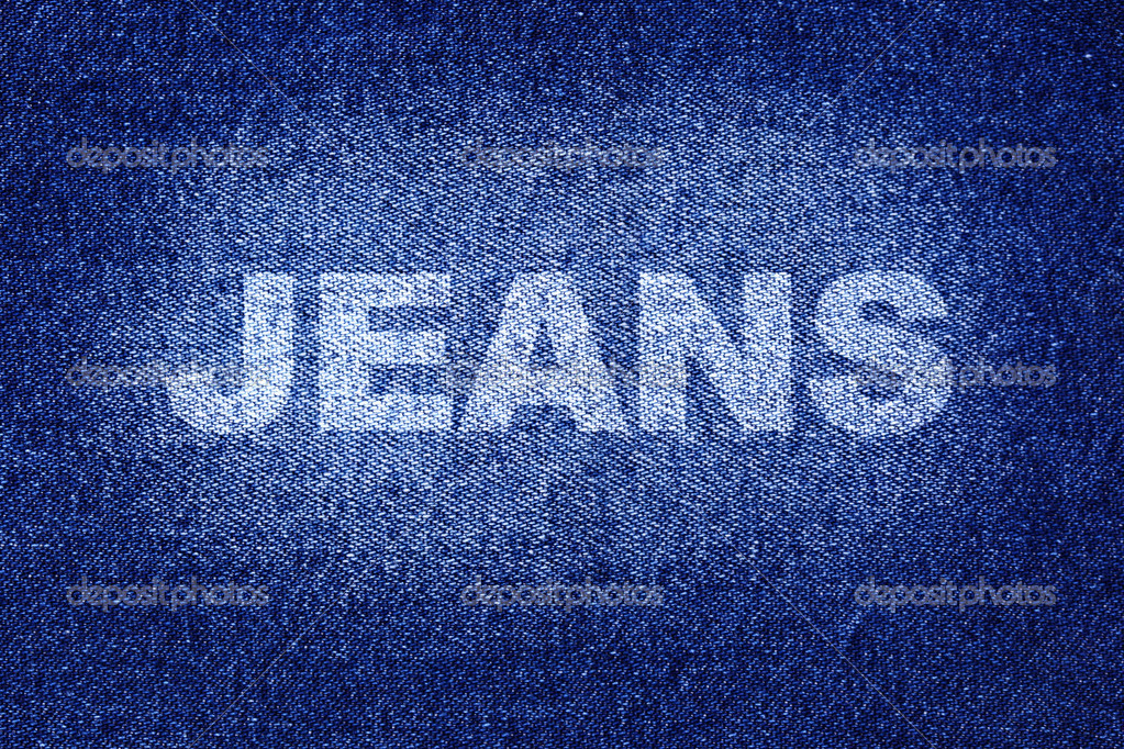 Blue jean texture with the Jeans word — Stock Photo #4580394