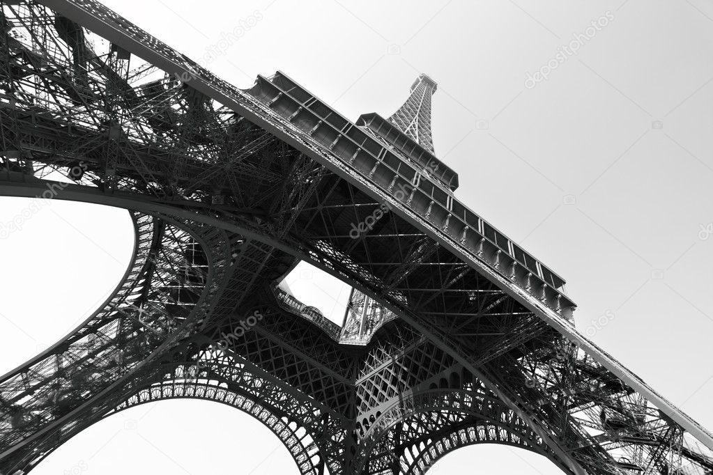 Eiffel tower, Paris, France. Black and white image/ — Stock Photo #5166352
