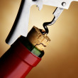 Cork-screw opening wine bottle — Stock Photo