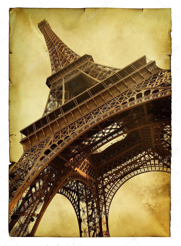 vntage 明信片与孤立在白色背景的埃菲尔铁塔– 图库图片
