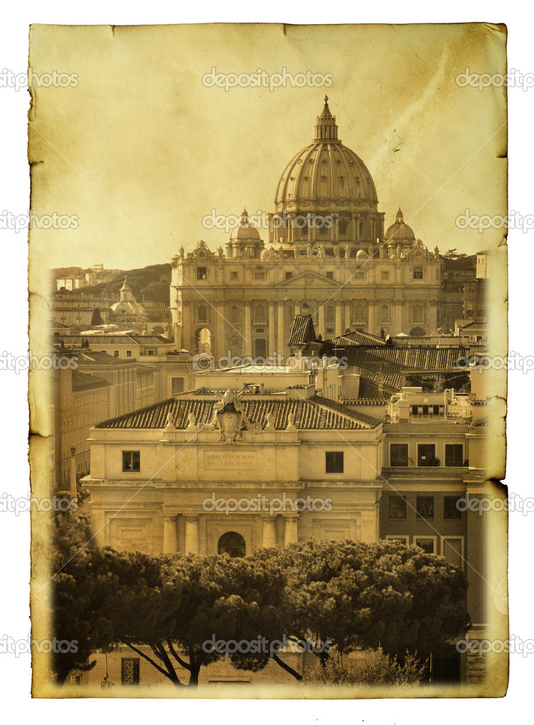 Vintage postcard (imitation) with view to Basilica di San Pietro, Vatican — Stock Photo #5319675