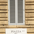 Piazza del Popolo nameboard — Stock Photo