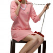 Retro woman in pink dress 60s — Stock Photo