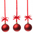 Christmas balls  with ribbons and bow — Stock Photo #4989133