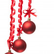 Christmas balls with ribbons and bow — Stock Photo #4989145