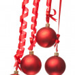 Christmas balls with ribbons and bow — Stock Photo #4989203