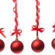 Christmas balls  with ribbons and bow — Stock Photo