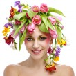 Beauty woman portrait with wreath from flowers on head — Stock Photo #4989388