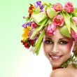 Beauty woman portrait with wreath from flowers — Stock Photo