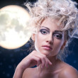 Beauty woman  under moon - Stock Photo