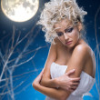Beauty woman  under moon - Foto Stock