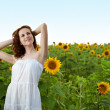 Stock Photo: Beauty woman in sunflower