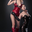 Stock Photo: Beauty fetish bdsm woman in dresses
