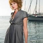 Beauty woman on sea — Stock Photo
