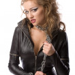 Beauty womin leather overalls — Stockfoto #4989985