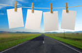 Road, clouds and the blue sky — Stock Photo
