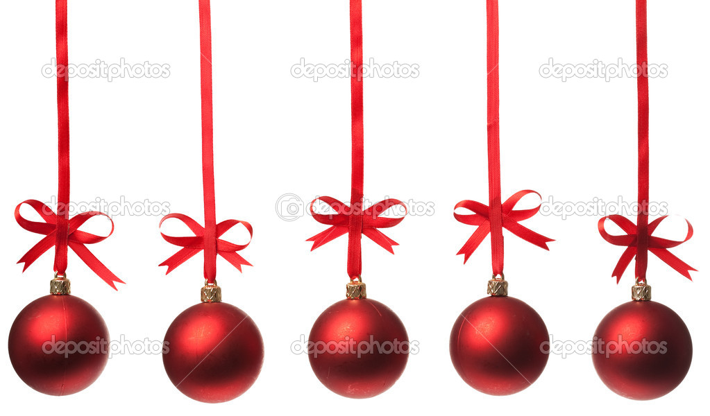 Christmas balls  with ribbons and bow on white background   Stock Photo #4989133