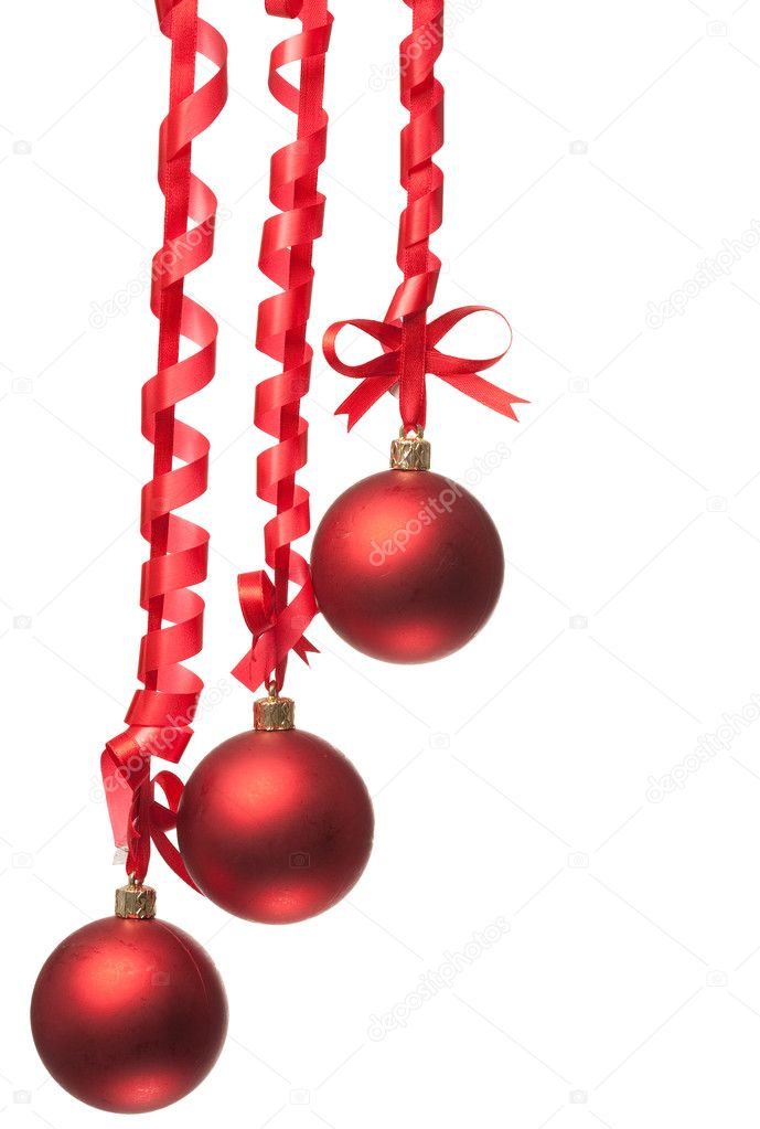 Christmas balls  with ribbons and bow on white background  — Stock Photo #4989145