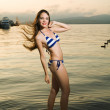 Stock Photo: Beauty woman on sea
