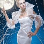 Beauty woman under moon — Stock Photo #4990096
