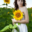 Beauty woman in sunflower — Stock Photo #4990143