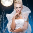 Beauty woman  under moon — Foto Stock