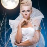 Beauty woman under moon — Stock Photo #4990257