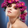 Beauty woman portrait with wreath from flowers — Stock Photo #4990392