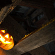 Halloween pumpkin in night on old wood room - 图库照片