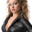 Beauty womin leather overalls — Stockfoto #4990490