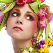 Beauty woman portrait with wreath from flowers — Stock Photo #4990592