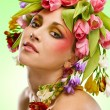Beauty woman portrait with wreath from flowers on head — Stock Photo