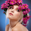 Beauty woman portrait with wreath from flowers on head — Stock Photo #4990688