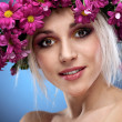 Beauty woman portrait with wreath from flowers on head — Stock Photo #4990814