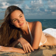 Stock Photo: Young beauty woman on sea