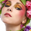 Beauty woman portrait with wreath from flowers on head — Stock Photo #4990879