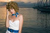 Beauty woman at sea — Stock Photo