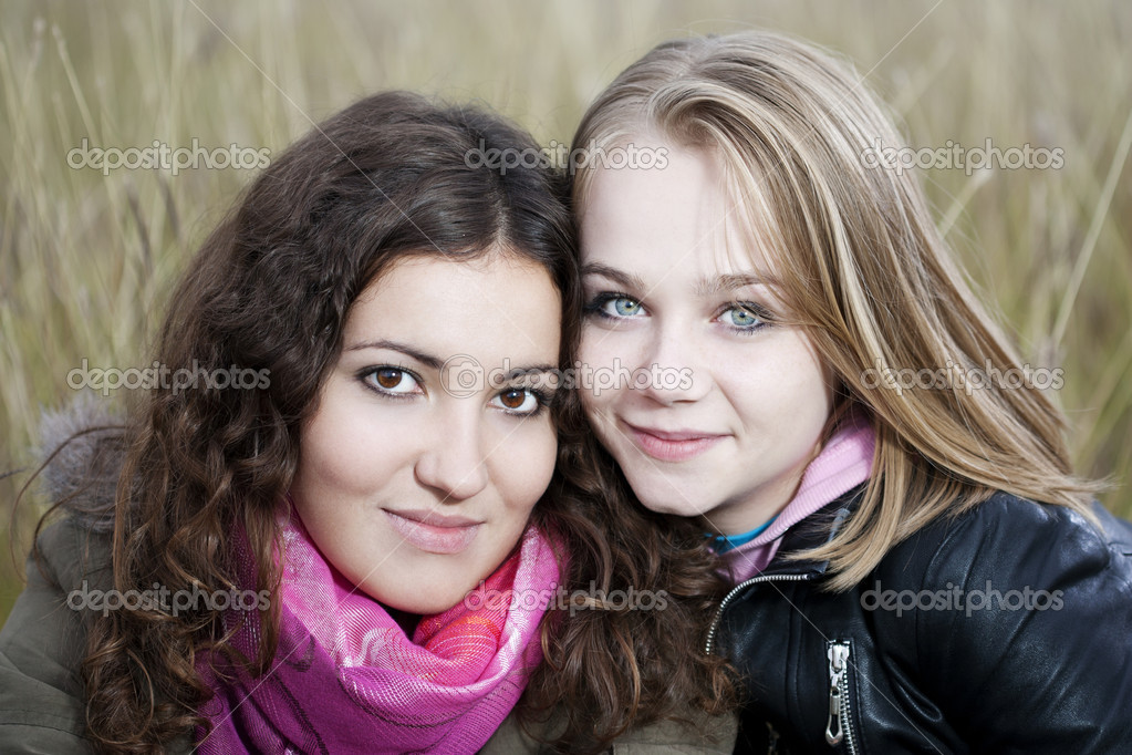 Twobeautiful young women on a beautiful autumn day    #3979023