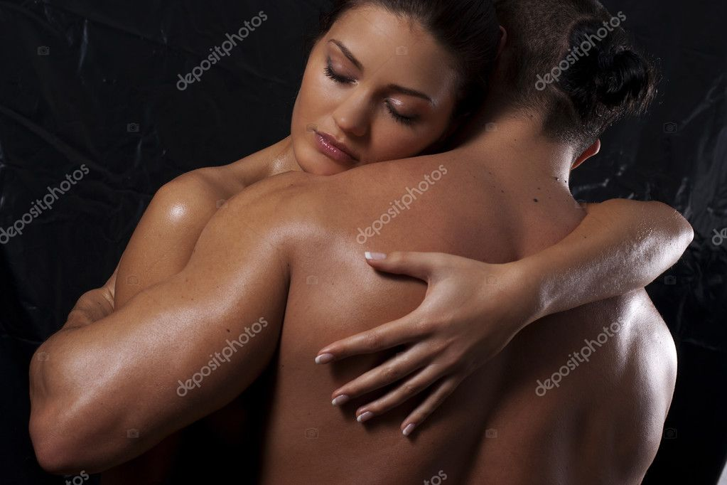 Loving affectionate nude heterosexual couple in shower hugging  — Stock Photo #4059635