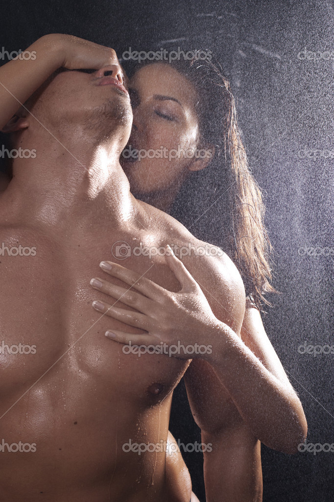 Loving affectionate nude heterosexual couple in shower hugging   Stock Photo #4059659
