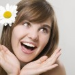 Woman with camomile — Stock Photo