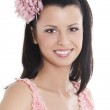 Young woman in pink dress — Stock Photo