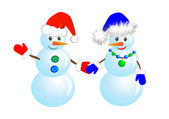Couple snowmen — Stock Vector