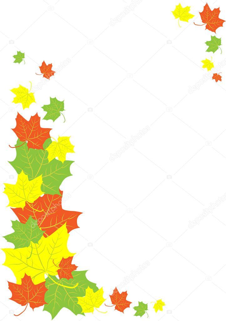 Autumn leaves border stock illustration