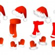 Christmas set: santa claus hat, scarf and mittens - Stock Vector
