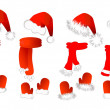 Christmas set: santa claus hat, scarf and mittens — Stock Vector