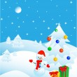 Christmas in the winter forest, postcard — Imagen vectorial